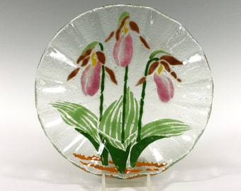 Ladyslipper Bowl Orchid Fused Glass Bowl