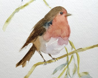 Robin Painting, Bird Art, Watercolour Robin, Red Robin not print, Original Robin Bird Wall Art, Christmas Card Robin, Cute Robin Redbreast