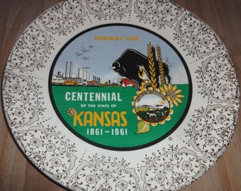 Vintage 1960's Kansas Bi Centennial Plate