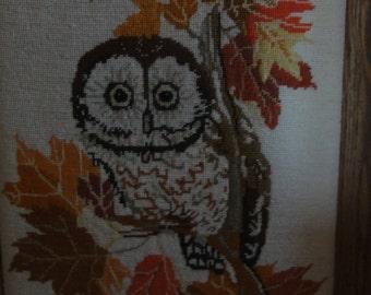 Vintage 1980 Owl Needlepoint