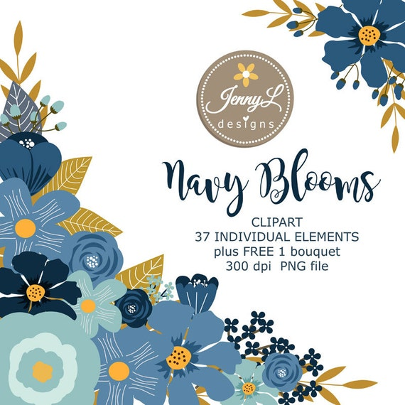 Navy Blue Flower Elements Clipart Wedding Flowers Floral Arrangement For Digital Scrapbooking