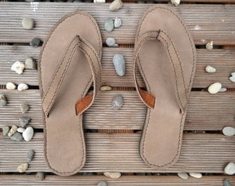 Sandals, leather, flip flops, leather sandals, leather flip flops, thongs, casual, size 10, beige-sand, handmade