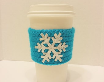 Glitter Snowflake Crocheted Coffee Cozy