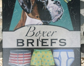 """Boxer Briefs 12x12"""" fine art print of my original art on canvas stretched onto a wood frame and ready to hang."""