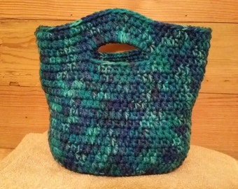 Crocheted handled basket