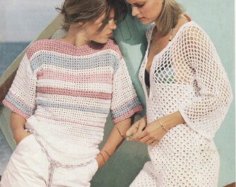 Ladies Crochet Pattern, Mesh Top, Swimsuit Coverup, Crochet Pattern, Two Styles, 6 sizes,Womens Crochet Top, Beachwear, Crochet Pattern, PDF