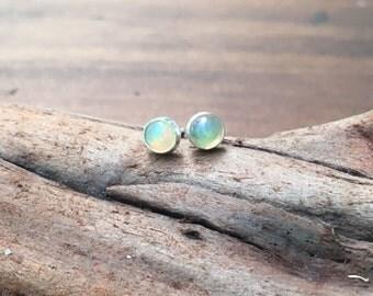 Opal Stud Earrings, 5 mm Welo Opal Stud Earrings, October Birthstone Gemstone Earrings
