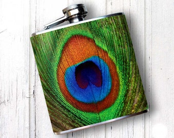 Whiskey Flask, Unique Flask, PEACOCK FEATHER hip Flask, Flask for Women,