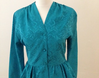 Jade Green 1980's Peplum Top