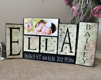 Baby Name Wooden Blocks, Baby Name Sign, Unique New Baby Shower Gift, Nursery Name Decor, 4 Letters First Name Middle Name and Photo Sign