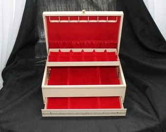 Vintage White Hinged Jewelry Box with Drawer