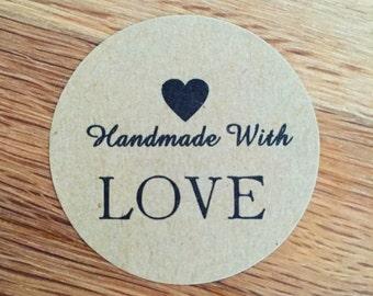 "Sticker round Kraft - ""Handmade with love"" - LOT of 10"