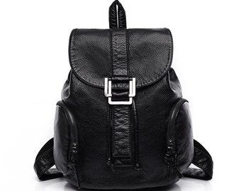 Women's leather backpack, school bag, travel bag