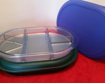 Tupperware preludio serving tray / hunter green or blue, (SOLD OUT), tupperware #2015, tupperware divided serving tray