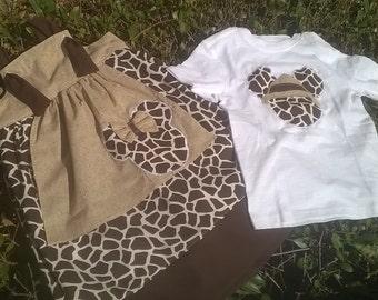 Animal Kingdom Knot dress, Apron dress, Disney Dress, Girls Knot dress, Animal Print dress, Brother Sister outfit