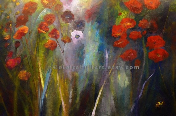 Art Print - Poppy Garden - Giclee Print - Red Flowers - Poppies - Flower Print - Colorful - Meadow Flowers - Canadian Art by Claire Bull