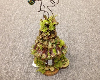 Whimsical Pinecone Petal, Wood and Moss Fairy House