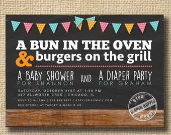 Couples Baby Shower Invitation, Co-ed Baby Shower Invite, Diaper Party, Bun in the Oven, BBQ Baby Shower, Wood Bunting Invitation, Modern