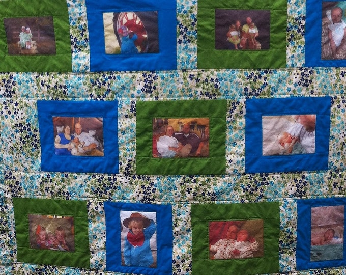 Custom Photo Quilt | Memory Quilt | Picture Quilt | Anniversary Gift | Wedding Gift | Personalized Quilt | Family Photos Quilt |Custom Quilt