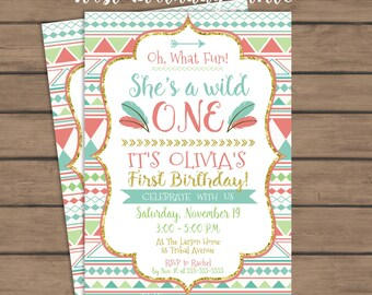 Wild ONE Tribal First Birthday Party Invitation - Girl Birthday - Aztec - Geometric - Feather - Wild One - First Birthday Invite - PRINTABLE