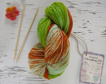 Hand colored 5 ply yarn, Long color change yarn, Ombre sheep wool yarn, Estonian sport weight yarn