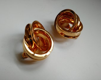 Vintage Gold Knot Clip-On Earrings