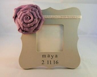 Newborn girl gift, baby picture frame, nursery decor girl, baby name frame