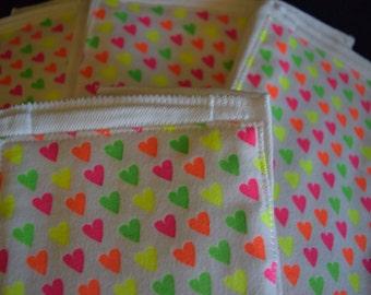Neon Hearts Burp Cloth