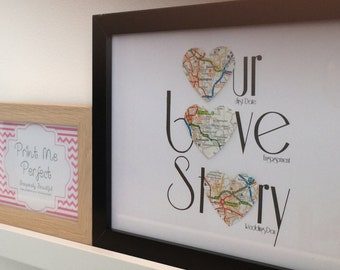 A Place in Your Heart - Our Love Story *Upcycled Maps* Wedding/Anniversary/Engagement
