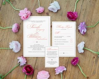 Sets of 10 Simple Elegance Wedding Invitation Suite