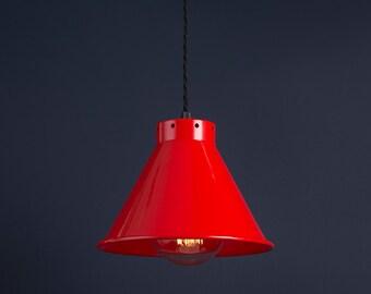 Industrial Vintage Retro Antique Cone Pendant Lamp  Light Shade - Pillar Box Red - 205mm Diameter