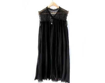 60s Black Sheer Pleated Sleeveless Cape Nightie