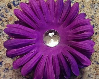 Purple Flower Clip with Rhinestone Center
