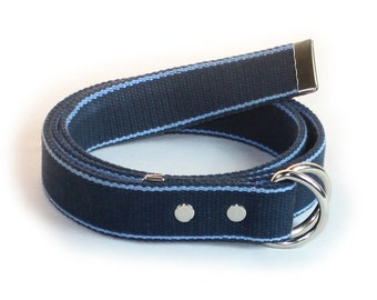 D-Ring Belt, Blue Thick Cotton Webbing