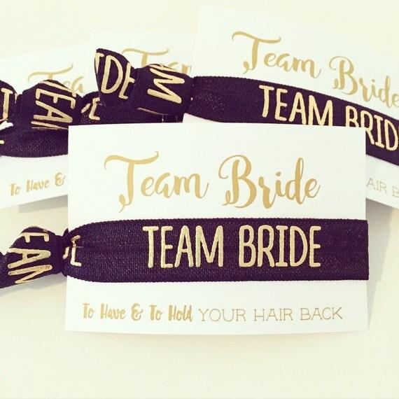 YOU DESIGN Bachelorette Party Hair Tie Favors | Black + Gold Team Bride Hair Tie Favors, Bridesmaid Gift + Bachelorette Party Hair Tie Favor
