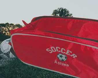 Personalised Shoe Bag ~  Soccer Crest Football Boot Bag, Sports Bag