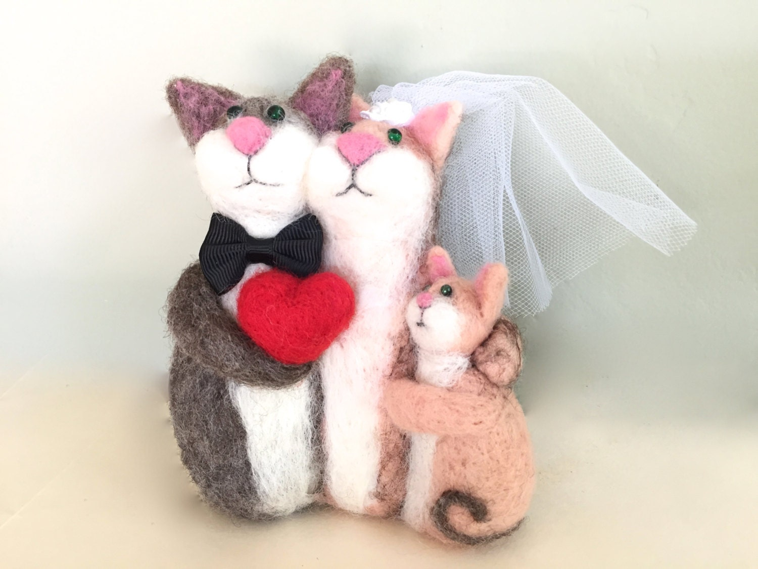 Just married cake topper family wedding cake topper with child