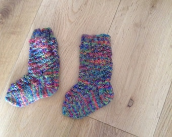 Hand knit child socks age 6-12 months multicoloured
