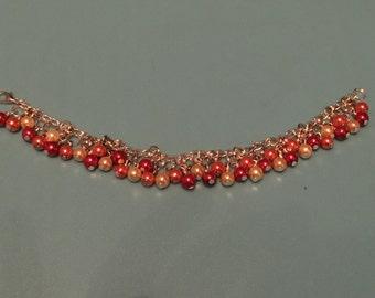 Red Orange and Yellow Glass Bead Beaded Bracelet