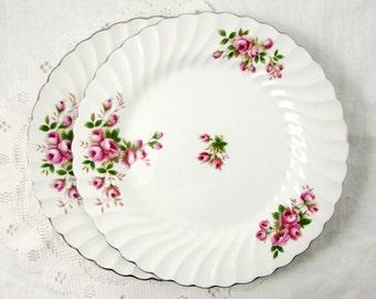 Pair of Vintage Snowhite Regency Dinner Plates with Pink Roses, Johnson Bros, Ironstone