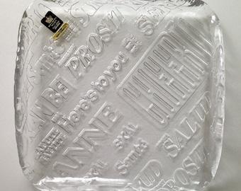 Royal Krona Bengt Edenfalk Crystal Square Cheese Platter with Label