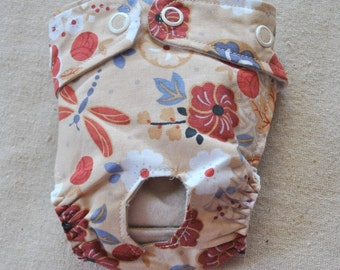 FREE SHIPPING. Dog diaper. In season diaper. Dog panty. Tan Floral. XX-Small