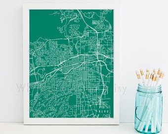 Reno Map Art Reno Print Reno Art Print Reno Poster Reno Printable Reno City Art Reno Nevada Art Reno Digital Reno Printable Art Reno City
