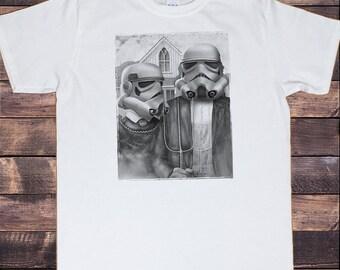 Men's White T-Shirt With Star Wars Stormtrooper Funny Parody Star Wars American Gothic TSJ1