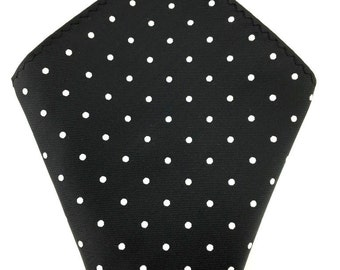 Mens Pocket Square.Black polka dots Handkerchief.Formal Suit .Pocket squares. Hanky. Tuxedo Tie Necktie Pocket Square.
