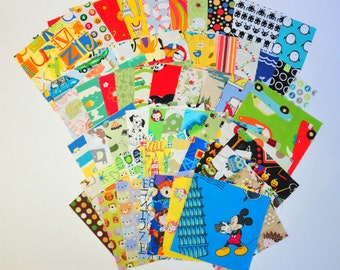 Destash Charm Pack I spy Novelty Fabric Children Kids Bright 50 different 5 inch precut pieces  animal  aliens cars construction