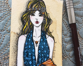 "ACEO, Original ACEO miniature, artist trading card, Pen and Ink, ""Fashion Patterns"", hand drawn fashion illustration, One of a Kind"