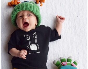 Black Monster t shirt top kids and babies Fred & Noah