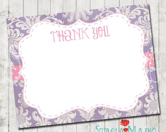 Purple Damask with Pink Baby Shower Thank You Card