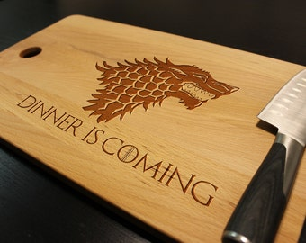 """Game of Thrones Dinner is Coming Cutting Chopping Board Kitchen Decor Housewarming Dorm Geeky Gift The Force Fan Boy Large Size 18"""" x 11"""""""